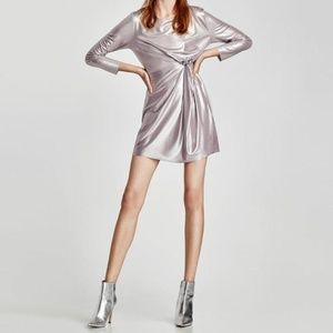 Zara W&B Metallic Silver Front Knot Dress NWOT